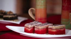 Punch Cake on plate Stock Footage