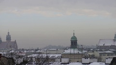 View of winter Krakow, Poland on Vistula River Stock Footage