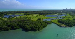 Aerial footage Crandon Golf at Key Biscayne Stock Footage