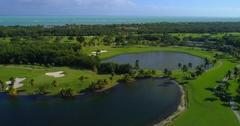 Aerial footage Crandon Golf Course Stock Footage