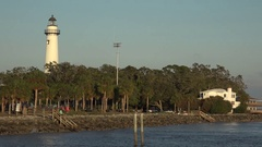 Zoom out from lighthouse at St Simons Island, Georgia, USA Stock Footage