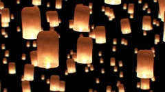 Beautiful Looped 3d animation of Floating Lanterns in Yee Peng Festival. Arkistovideo
