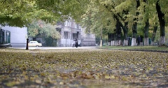 Rain Drops Falling Over Yellow Leaves Close up View With Blurred Man Pushing Stock Footage