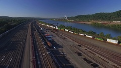 Fly by of Conway Yards in Conway, Pennsylvania featuring the trains and tracks Stock Footage