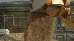 Front loader pouring wood chip into a big pile Stock Footage
