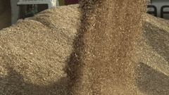 Front loader pouring wood chips from its bucket Stock Footage
