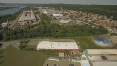 Aerial shot of industrial park on the Ohio River in Ambridge, Pennsylvania Stock Footage