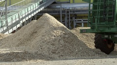 Woodchipper at the wood processing factory Stock Footage