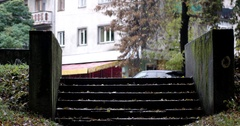 Autumn City Park With Rain Background, Fall. Raining. Wet, Rainy Weather. Stock Footage