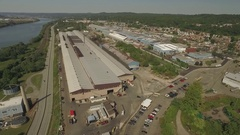 Aerial shot of a steel mill on Route 65 in Ambridge, Pennsylvania Stock Footage