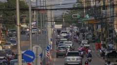 Busy road with traffic in centre of town,Pakse,Laos Stock Footage