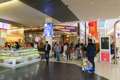 Moscow, Russia - October 01.2016. People in shopping and entertainment cent.. Stock Photos