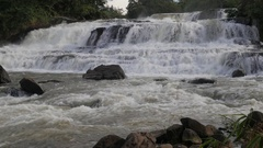 Tad Hang Waterfall wide view,Tad Lo,Bolaven,Laos Stock Footage