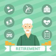 Retirement vector cartoon design. Stock Illustration