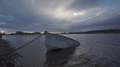 4K Old sunken boat in muddy water Stock Footage