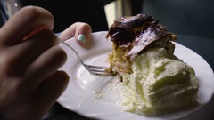 Closeup Of Young Woman's Hands As She Digs Into Her Dutch Apple Pie Stock Footage