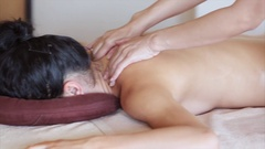 Massage procedure in spa salon.Massage of female back in the masseur. Stock Footage