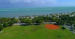 Helicopter tour Miami Crandon Park Stock Footage