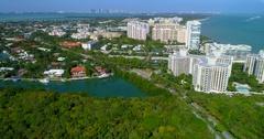 Aerial tour Key Biscayne beachfront condominiums Stock Footage