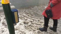 Melting wet snow slush on Stockholm streets Stock Footage