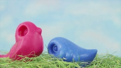 Two vintage toys birds Stock Footage
