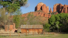 Crescent Moon Ranch and Cathedral Rock, Sedona, Arizona (pan) Stock Footage