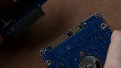 Laptop, external hard drive, 2.5-inch Stock Footage
