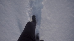 Man goes on the trail in winter Stock Footage