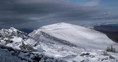 Clouds Passing the Carpathian Mountain Ridge. Time Lapse Clip Stock Footage