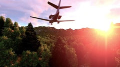 Military helicopters folowing an airplain over green forrest Stock Footage