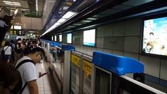 Taipei Metro main station, Metro arrives at station Stock Footage