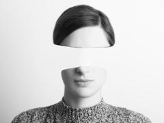 Black and White Abstract Woman Portrait Of Identity Theft Concept Stock Photos