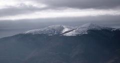 Panning Shot of Snow on Carpathian Mountain Landscape Stock Footage