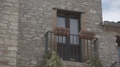 Old italian building, window vintage style in town, balcony Stock Footage