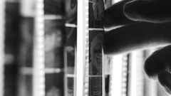 Black and white photo film close up Stock Footage