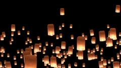 Floating Lanterns in Yee Peng Festival. Loy Krathong Celebration in Chiangmai Arkistovideo