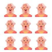 Grey haired old lady face expression avatars Stock Illustration