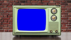 Vintage Green Television and Brick Wall With Zoom Into Chroma Blue Screen Stock Footage