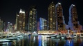 Dubai Marina night zoom timelapse, United Arab Emirates HD Footage