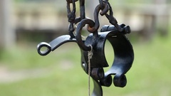 Old black iron shackles Stock Footage