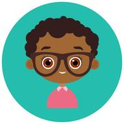 Faces Avatar in circle. Portrait young african american boy with glasses. Vector Stock Illustration