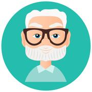 Grandfather Faces Avatar in circle. Vector illustration eps 10 isolated on white Stock Illustration