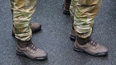 Feet of soldiers. Soldiers in military uniform. Servicemen at military parade Stock Footage