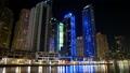 Dubai Marina night zoom time lapse, United Arab Emirates HD Footage