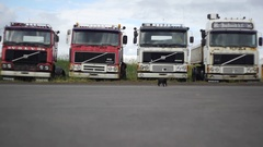 Fixed shot of a abandoned trucks in northern Iceland Stock Footage
