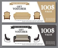 Gift Voucher Template with variation of furniture for apartments Stock Illustration