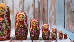 Matrioshka or babushkas dolls Stock Footage