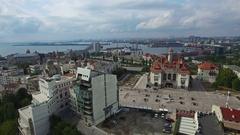 Aerial view of Constanta industrial port, Romania Stock Footage