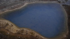 Close panoramic over geothermal pool, hot springs in Golden Circle, Iceland Stock Footage