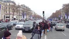 PARIS, FRANCE Tourists making photos near famous triumphal Stock Footage